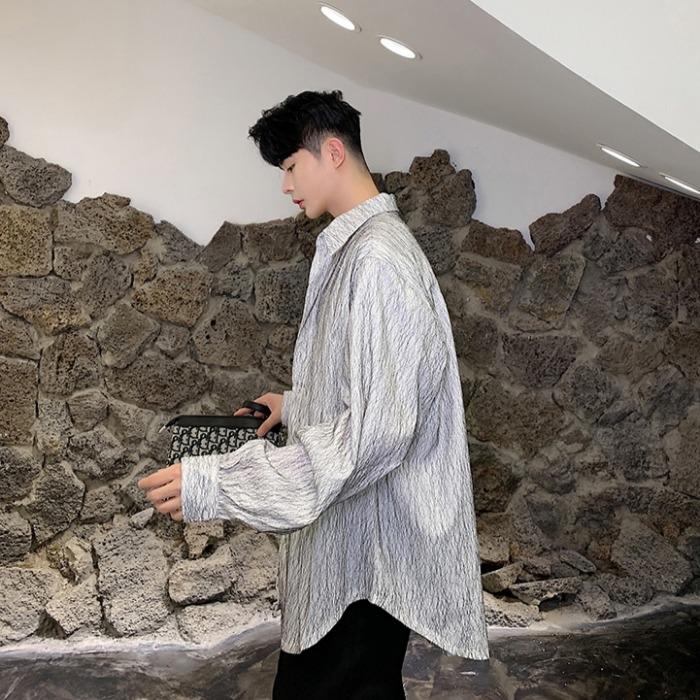 108024 유니크라인 패턴포인트 헤비오버핏 셔츠 (2Color)