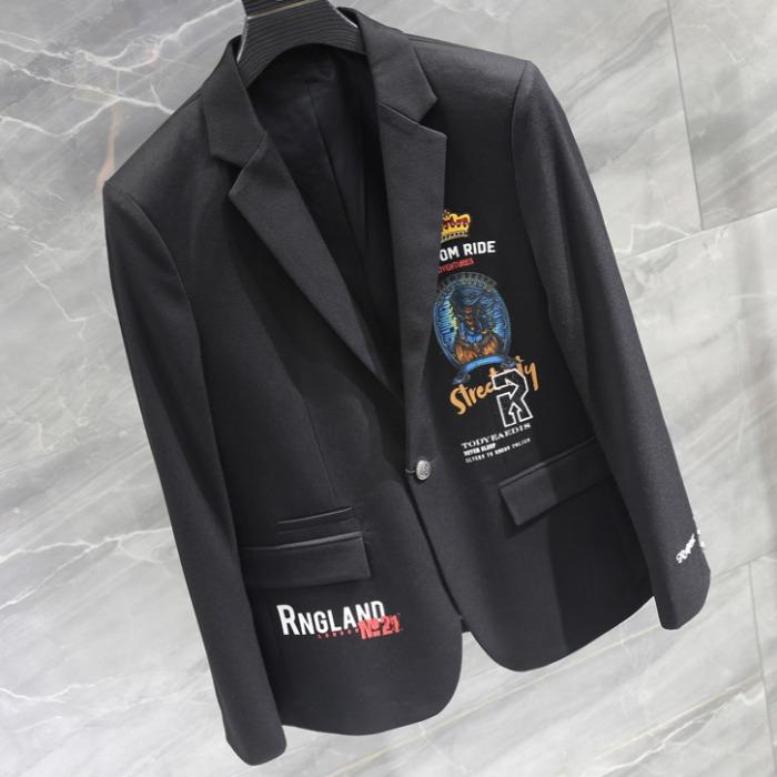 108172 유니크 베리어스라인 프린팅 포인트 자켓 (Black)