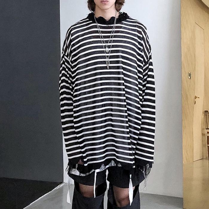 108074 데미지라인 스트라이프 헤비오버 티셔츠 (Black)