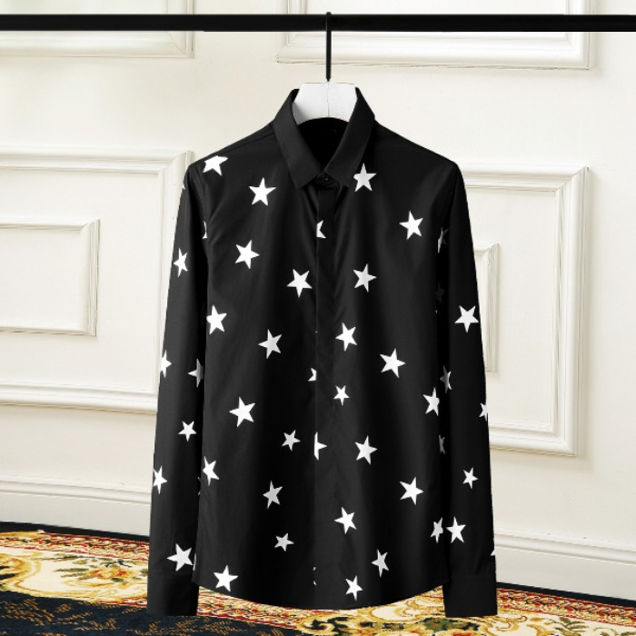 108423 시그니처 스타패턴 포인트 히든버튼 셔츠 (2Color)