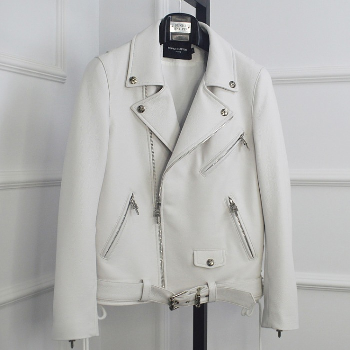 108466 시그니처 크로스 패턴라인 라이더 점퍼 (White)