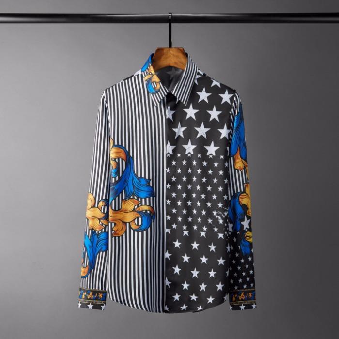 108555 배색 스트라이프 고져스프린팅 셔츠