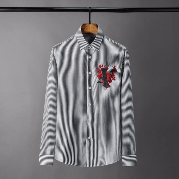 108572 체스트 자수포인트 스트라이프 셔츠