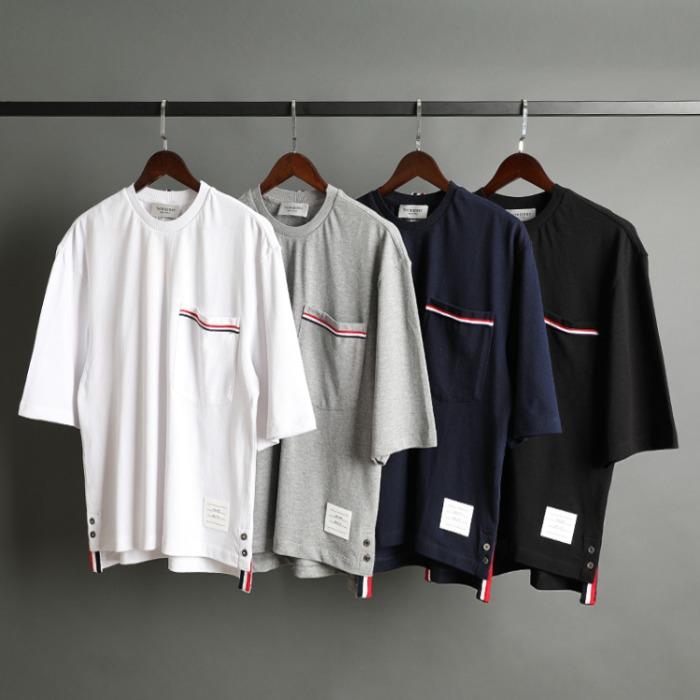 109527 유니크 포켓 삼선 띠 배색 오버핏 반팔 티셔츠