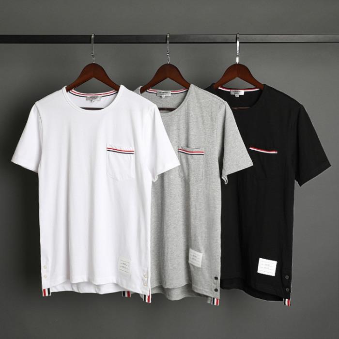 109532 유니크 포텟 삼선 띠 배색 반팔 티셔츠