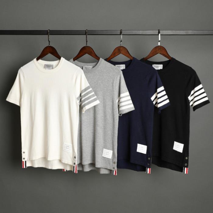 109544 라운드넥 소매 완장 반팔 니트 티셔츠
