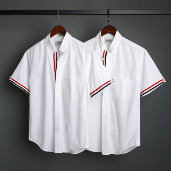109562 옥스포드 플래킷 삼선 배색 반팔 셔츠