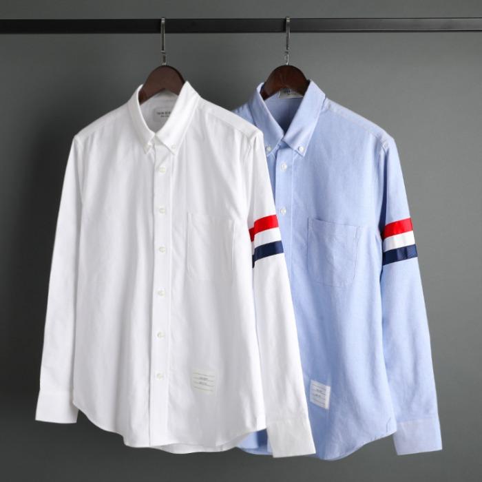 109585 옥스포드 삼선 완장 포켓 긴팔 셔츠