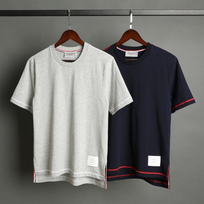 109528 유니크 소매 띠 배색 반팔 티셔츠