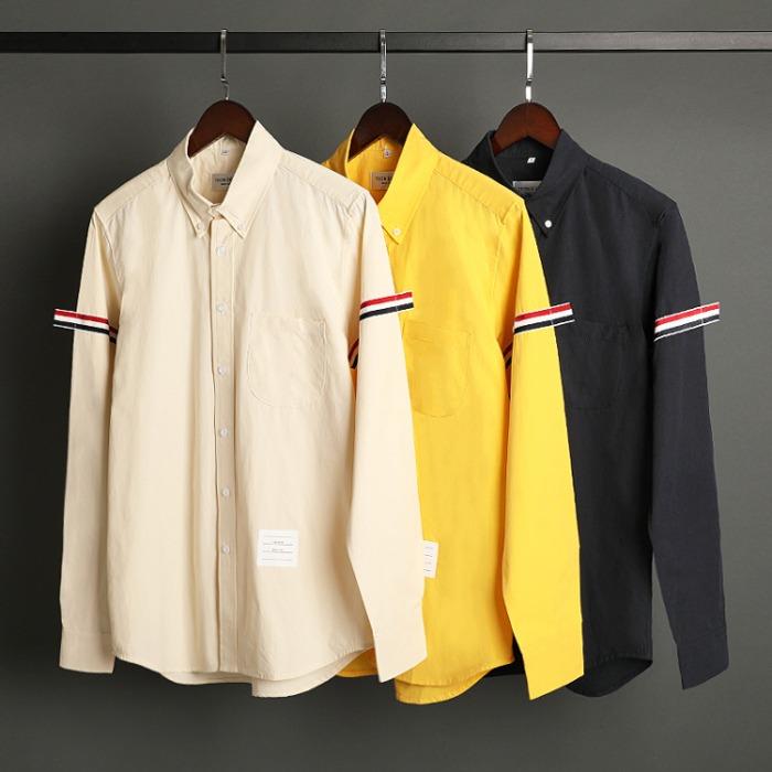 109594 시그니쳐 삼선 띠 팔 배색 긴팔 셔츠