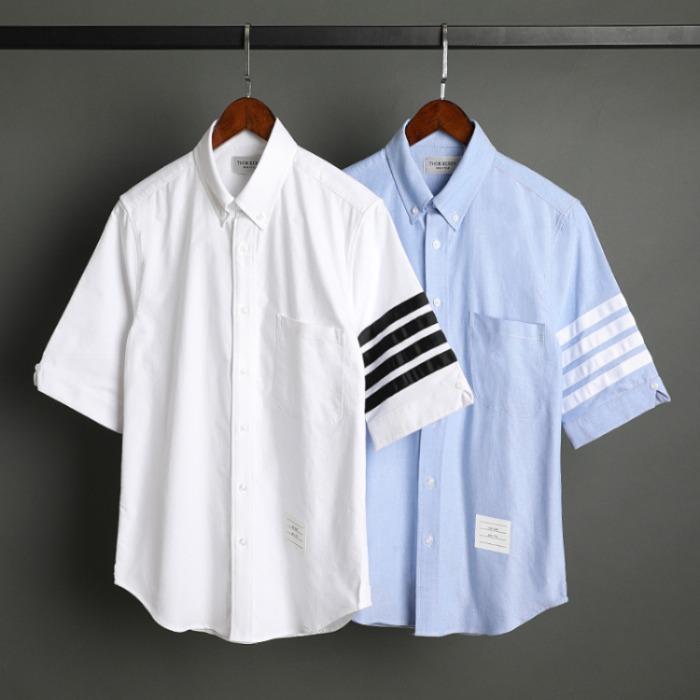109543 옥스포드 사선 소매 완장 반팔 셔츠