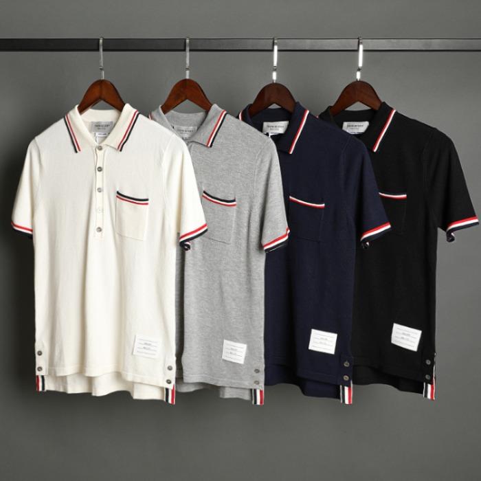109540 카라 소매 배색 포인트 PK 반팔 니트 티셔츠