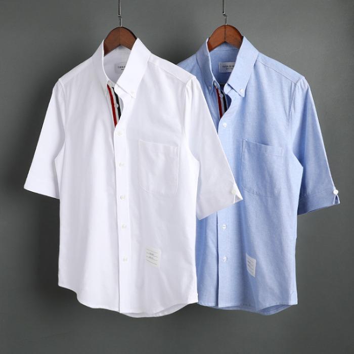 109589 옥스포드 플래킷 삼선 띠 배색 반팔 셔츠