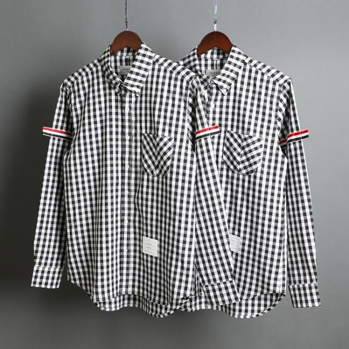 109515 유니크 삼선 완장 띠 배색 긴팔 체크 셔츠