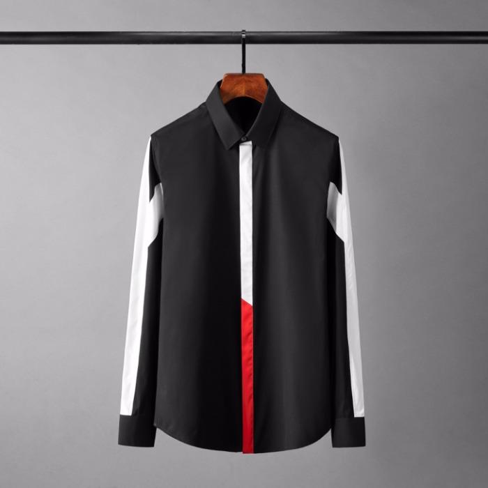 110122 라인 띠배색 포인트 히든버튼 긴팔 셔츠