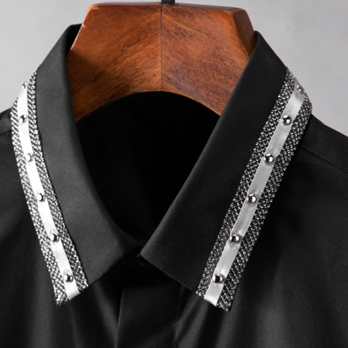 110225 스터드 카라 라인배색 히든버튼 긴팔 셔츠