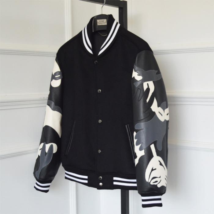 110379 체인로즈 패턴 소가죽 스타디움 야구점퍼(Black)