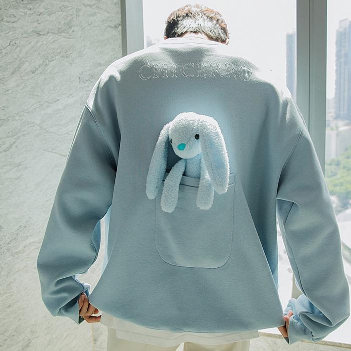 110204 베어 래빗 백 포켓 포인트 루즈핏 맨투맨 티셔츠