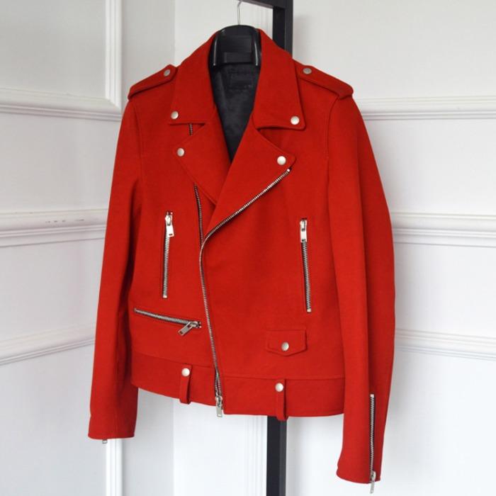 110605 SL 소가죽 스웨이드 바이커 가죽자켓(Red)