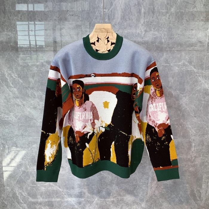 110718 피카소 그래피티 울 니트 스웨터(Green)