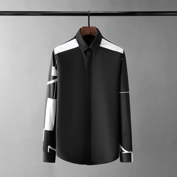 110566 지오메트릭 패턴 배색 히든버튼 긴팔 셔츠(Black)