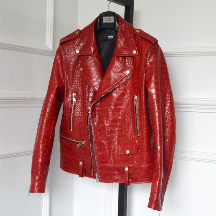 110648 SL 유광 크로커다일 패턴 양가죽 자켓(Red)