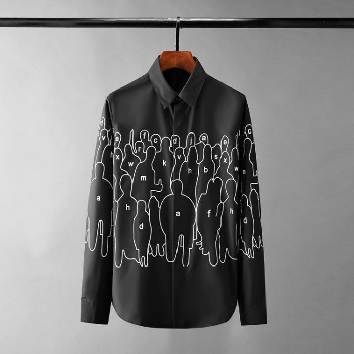 110571 쉐도우 프린팅 히든버튼 긴팔 셔츠(2Color)