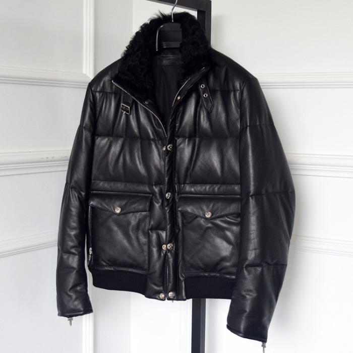 110607 CH 소가죽 양털 숏 패딩 점퍼(Black)