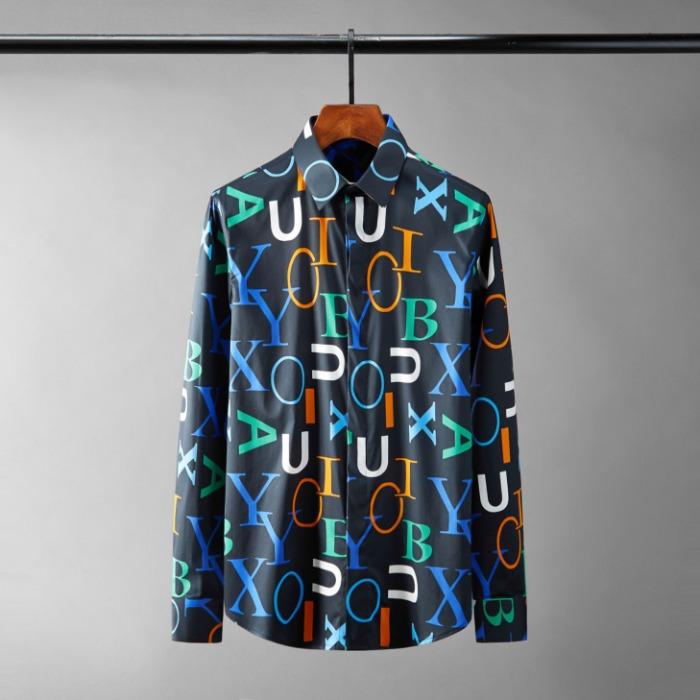 111080 컬러풀 레터링 히든버튼 긴팔 셔츠(2Color)