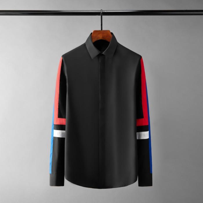 111083 지오메트릭 소매 띠배색 히든버튼 긴팔 셔츠(2Color)