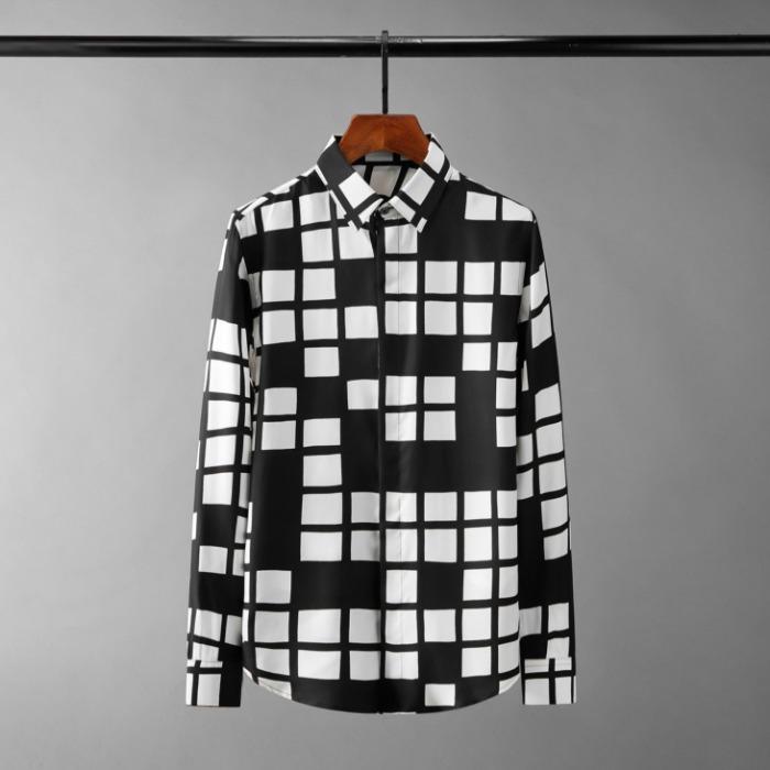 111077 언밸런스 스퀘어 체크 히튼 긴팔 셔츠(Black)