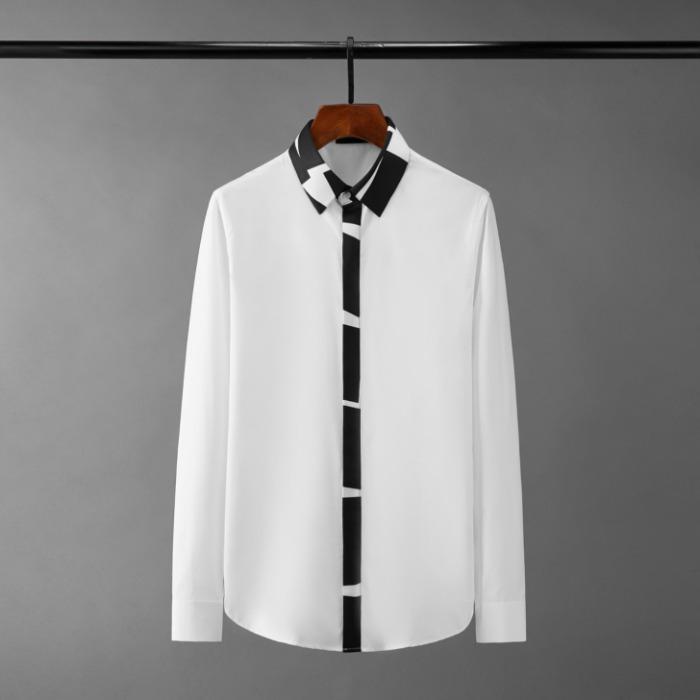 111084 지오메트릭 카라 앞띠배색 긴팔 셔츠(2Color)