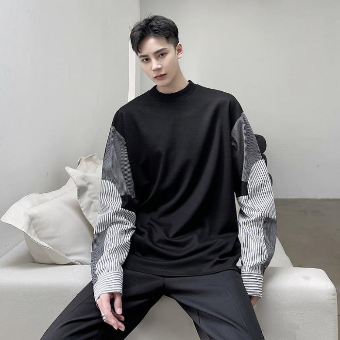 111160 소매 스트라이프 멀티 배색 긴팔 티셔츠(Black)