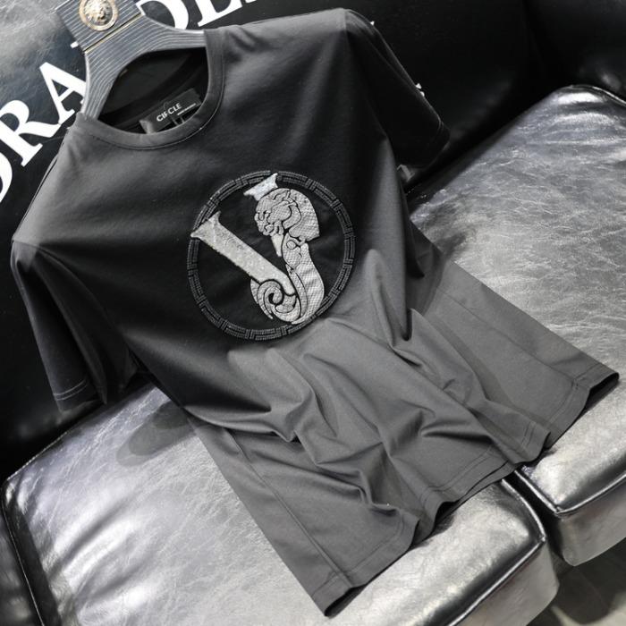 111773 V 큐빅 서클 전사 패치 반팔 티셔츠(Black)