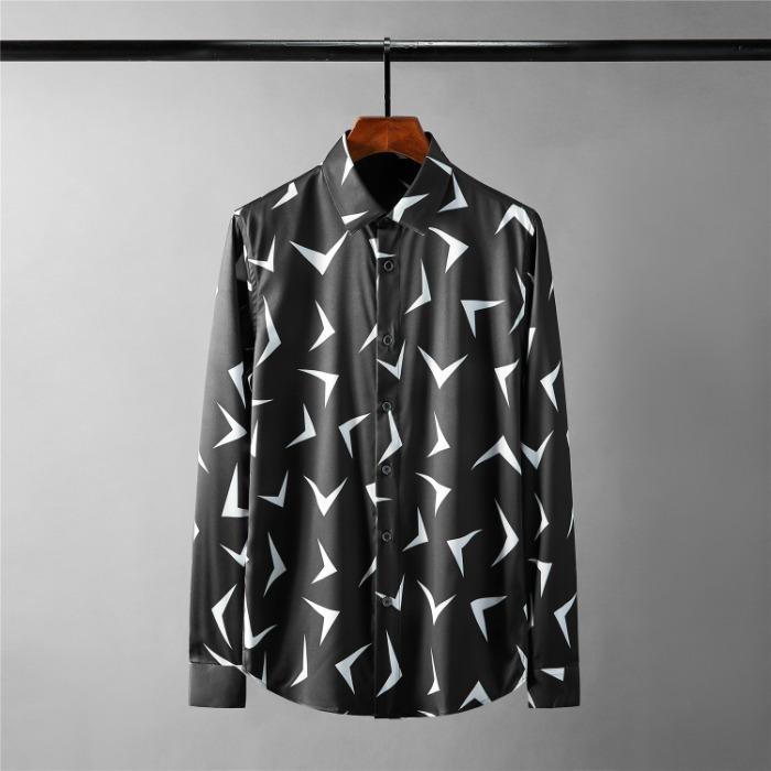 111691 지오메트릭 V 프린팅 긴팔 셔츠(Black)