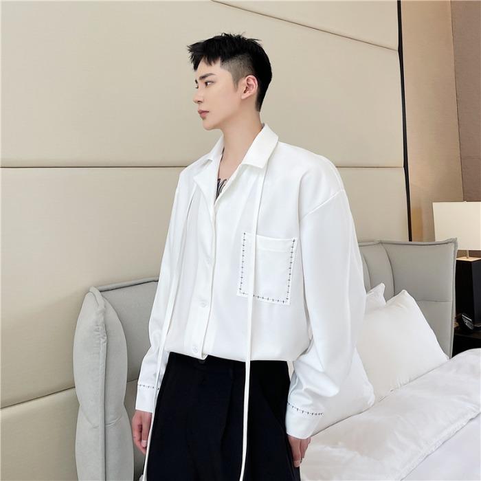 111902 실켓 루즈핏 오픈카라 긴팔 셔츠(2color)