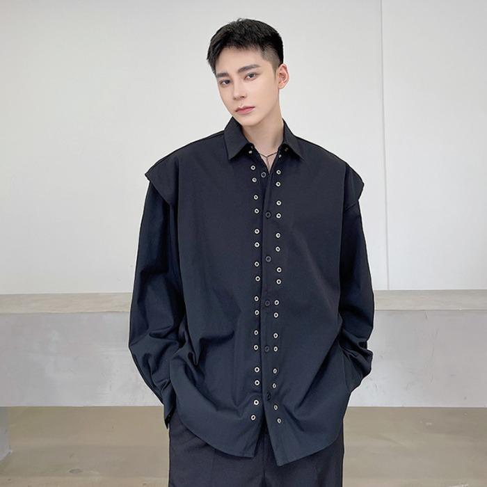 111894 파워숄더 레이어드 리벳 긴팔 셔츠(2color)