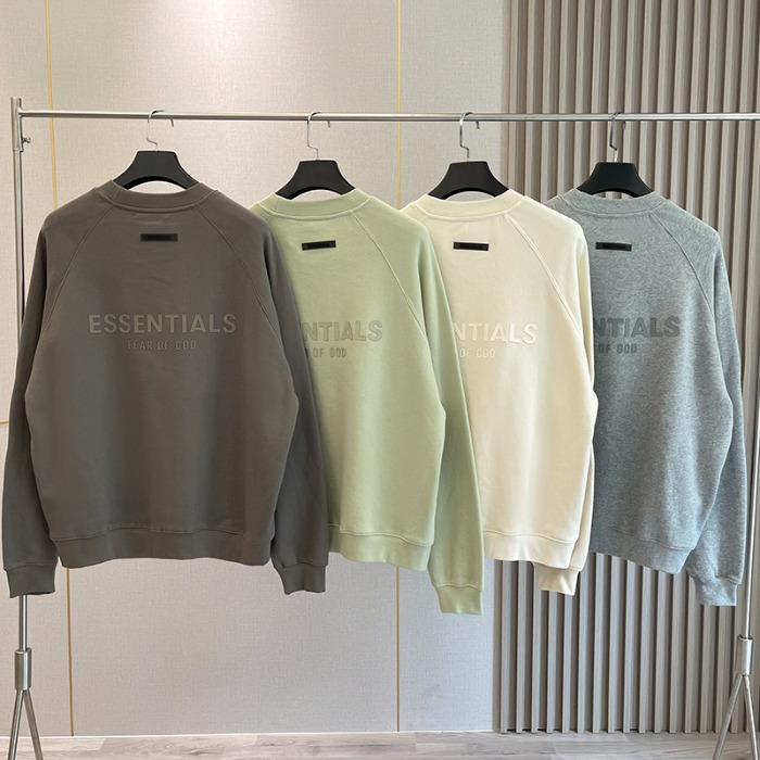 111961 에센셜 실리콘 프린팅 기모 맨투맨 티셔츠(4color)