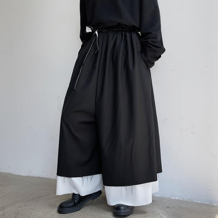 111892 페이크 투피스 레이어드 와이드 팬츠(Black)