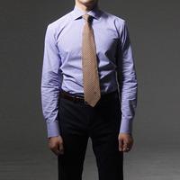 75006 프리미엄 커스텀 와이드 카라 체크 셔츠 (Purple)