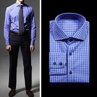 75022 프리미엄 파스텔 체크 와이드 카라 셔츠 (Purple)