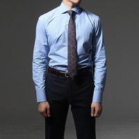 75023 프리미엄 커스텀 와이드 카라 체크 셔츠 (Blue)