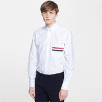 90290 TH 체스트포켓 삼색라인 포인트 옥스포드 워싱 셔츠 (White)