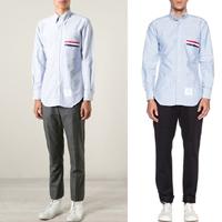 90291 체스트포켓 삼색라인 포인트 옥스포드 워싱 셔츠 (Sky Blue/95,100)