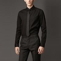 89022 프리미엄 솔리드 셔츠 (Black/2Type)