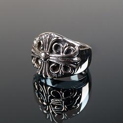 92725 CH 빅 플로랄 크로스 반지 (Silver)