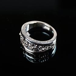 92726 CH 음각 크로스 비대칭 레터링 반지 (Silver)