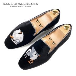 - KARL SPALLRENTA - 92868 독수리자수 벨벳 슈즈 (Black)