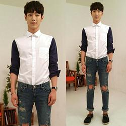 86345 - 소매배색 셔츠(White Blue/95,100,105)