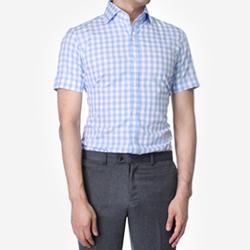 84870 No.25-A 프리미엄 체크 1/2 셔츠 (Sky Blue)